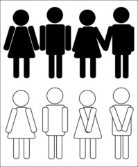 vector silhouettes of man and woman