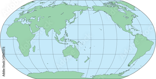 World Map Asia Centered.Robinson World Map Asia Centered Vector Illustration Stock Image
