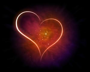 Galaxy with shining Heart Shape.