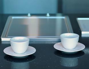 2 tasses a café dans la cuisine