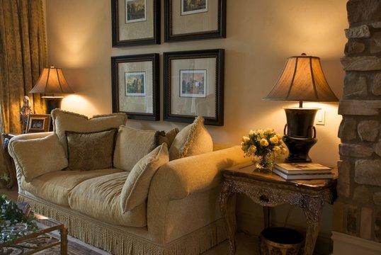 An elegant, formal sitting area or living room