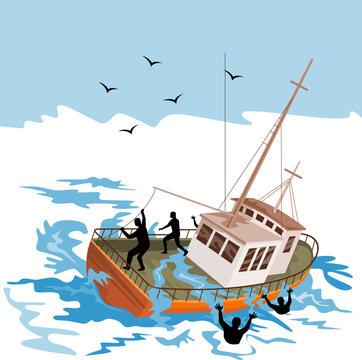 Boat battling the storm