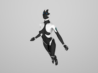 cyborg female flying