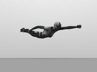 cyborg female flying