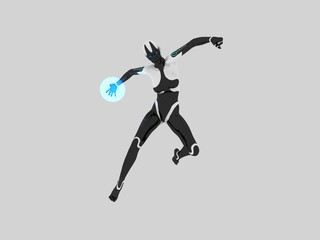 cyborg female with energy ball