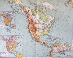 old XIX century geographical mapbook open