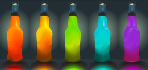 Vector bottles. Gradient mesh is used.