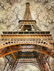 Fototapete - artistic picture of Eiffel tower