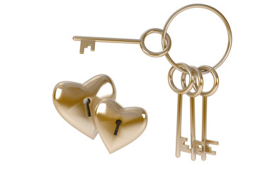 Bunch of keys to heart, concept  love