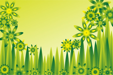 background of a  meadow with abstract green and yellow flowers