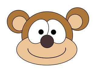 Monkey Face Cartoon - Isolated On White
