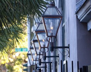gas lanterns on wall in Charleston, South Carolina