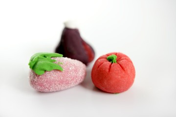 Variety of fruits on colorful marzipan