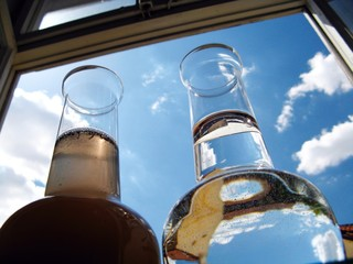 Carafe of clean and dirty water
