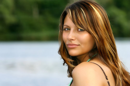 perfect brown haired portrait of a german beauty