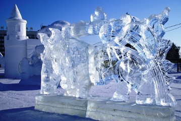 Ice sculpture of the fiery bull in Russia