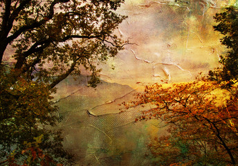 autumn landscape - artwork in painting style
