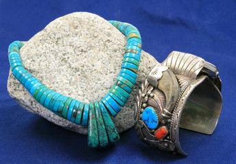 Turquoise neckless and sterling silver watch