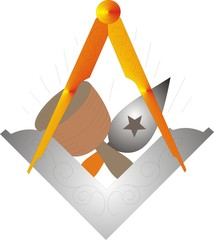 Masonic Square & Compasses with working tools