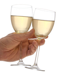 Wine and hand on white background