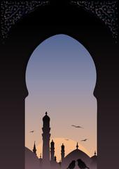 Arab window view islamic skyline with romantic birds.
