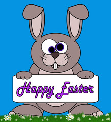 "Bunny Cartoon With Signboard ""Happy Easter"" Message"