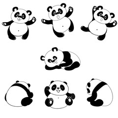 In de dag Beren Illustration of panda in some posture