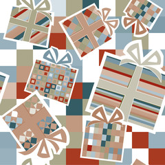 Wallpaper with gift boxes