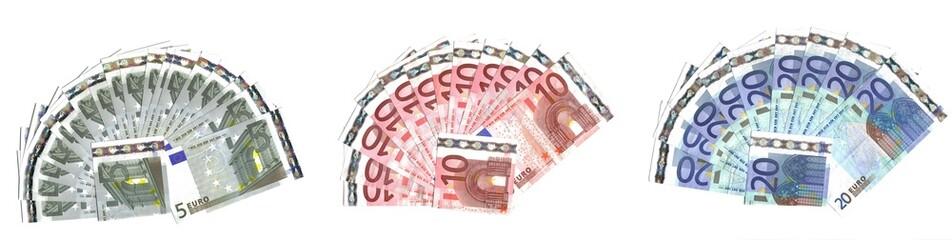 ranges (funs)  of euro banknotes