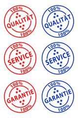Qualität, Service & Garantie Stempel