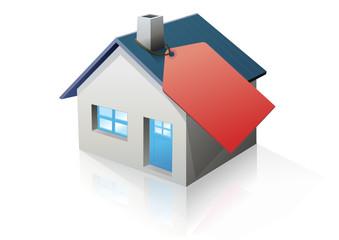 Maison et étiquette rouge (reflet)