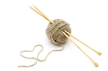 Wool yarn with bamboo needles