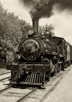 Old locomotive sepia