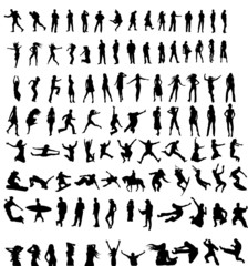 large set of vector silhouettes