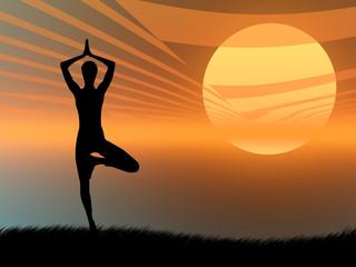 Posa yoga al tramonto