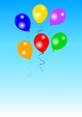 Six colorful party balloons