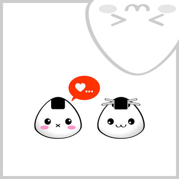 Japanese rice balls (onigiri) in love. Kawaii style.