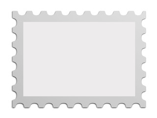 empty post stamp isolated on white