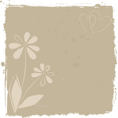 vector grunge background with flowers