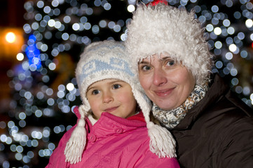 Mother and daughter winter portraits