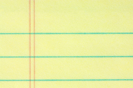 Close-up of legal pad of paper