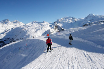 People skiing in Alps