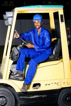 african industrial forklift driver