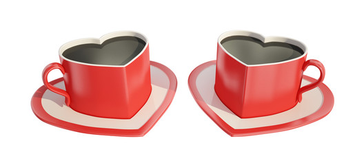 Two heart-shaped coffee cups