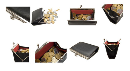 collection of purses and coins on a white background