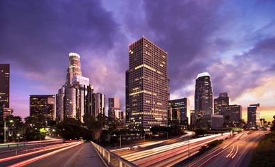 Poster Los Angeles Los Angeles during rush hour at sunset