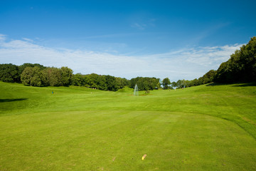 Teeing ground. Golf course in Molle, Sweden