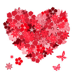 Floral heart with butterflies. Vector illustration