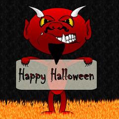 Nasty Devil Cartoon In Hell - Holding Halloween Message