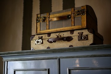 Old suitcases over the wardrobe